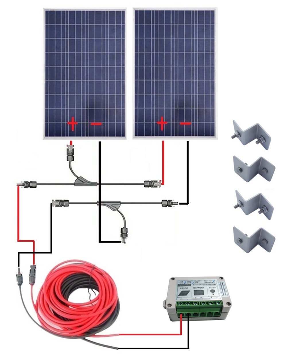 DE stock, 200w solar system for home no tax, COMPLETE KIT 200W Solar Panel cells off grid system, * 100w 12v monocrystalline solar panel for 12v battery rv boat car home solar power