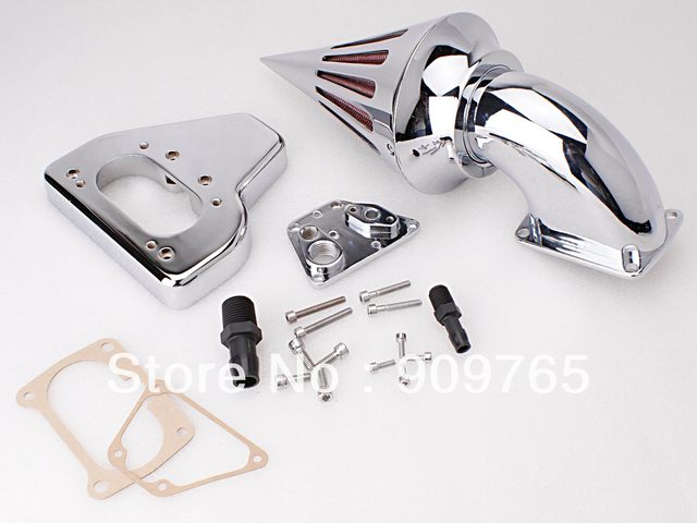 O envio gratuito de 1 conjunto de cromo cone de spike air kit filtro intake cleaner para honda vtx 1800 2002-2009