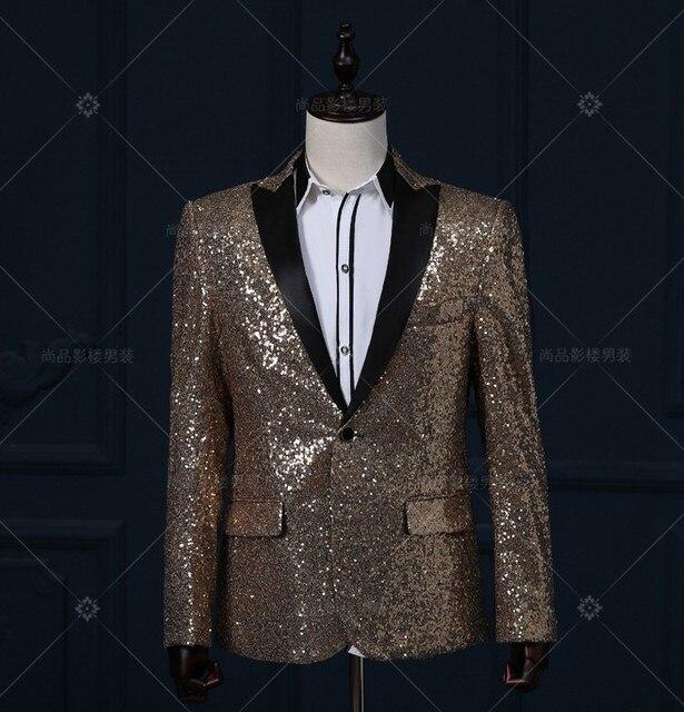 Мужские bling полный швейные блестки темно-золотой/серебряный цвет событие/этап производительность короткий смокинг