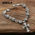 100% Genuine 925 Sterling Silver Vintage Punk Cross Link Chain Bracelet Thai Silver Jewelry for Man or Women Jewelry 9mm