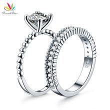 Павлин звезда Твердые стерлингового серебра 925 2-PCS Свадебные Обручение кольцо 1 ct создано Diamante Ювелирные изделия cfr8276