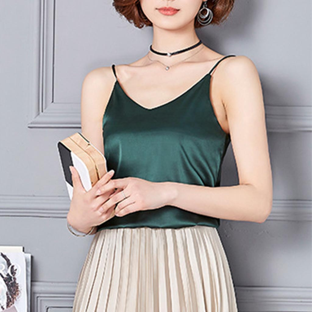 Summer Tops Women Sexy Silk Ladies Camisole Bottom Shirt V-neck Cropped Feminino Female T-shirt Soft Satin Tank Top Crop