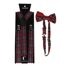 HUOBAO Men/Women Clothing Suspenders Bowtie Set Clip-on Elastic Y-Shape Adjustable Red Plaids Print