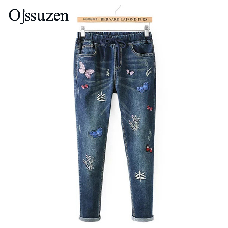 503e09b1b988c Detail Feedback Questions about Ladies M 3XL Plus Size Skinny Full Length  Jeans Pants Women Jeans With Embroidery Denim Jeans Trousers Female on ...