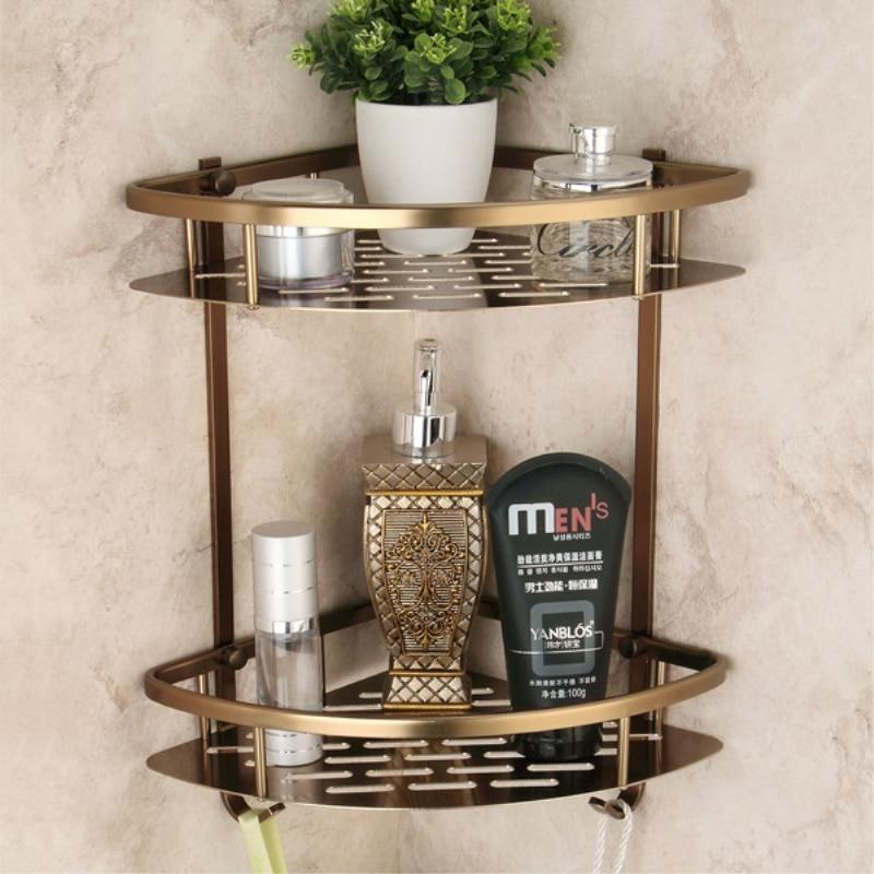 2 Tier Bathroom Shelves Antique Brass Material With Robe Hook Bathroom Storage Basket Wall Mounted Bathroom Corner Shelf 9115F|bathroom shelf|aluminum bathroom shelf|antique bathroom shelf - title=