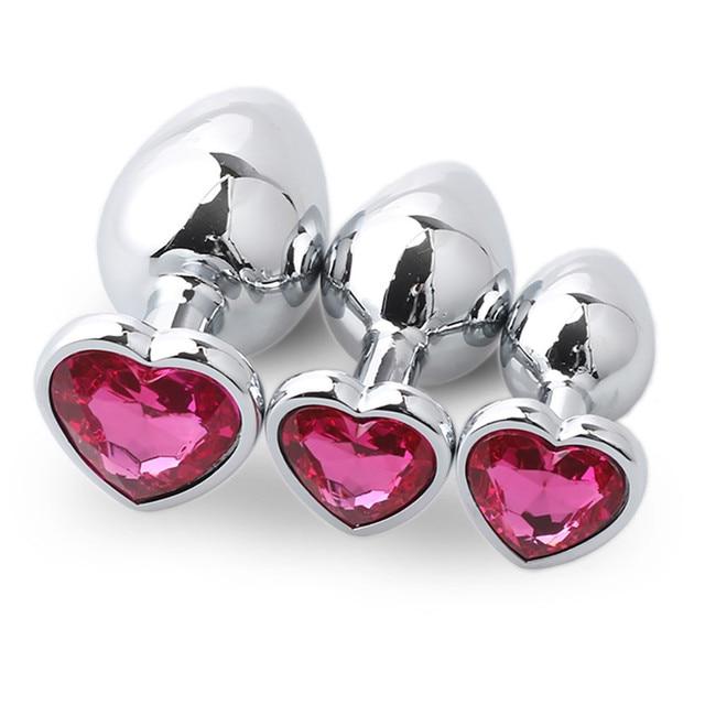 Candy pink metal anal plug box 3 sizes