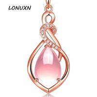 26*14mm Natural semi precious stones High quality Pink Hibiscus women Jewelry gold necklace water drop Pendant girlfriend gift