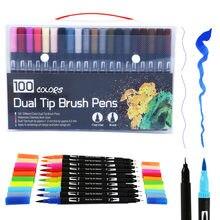 Marqueurs artistiques à double brosse, 100 couleurs, pointe Fine, pour journaux à puces, livres de coloriage pour adultes, calligraphie, lettrage
