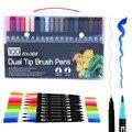100 cores escova dupla arte marcadores caneta ponta fina e pincel ponta canetas para diário bala adulto livros de colorir caligrafia lettering