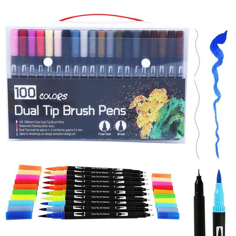 Rotuladores artísticos de doble pincel, 100 colores, punta fina y Punta de pincel, bolígrafos para diarios de balas, libros para colorear para adultos, caligrafía, letras