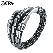 ZABRA Solid 925 Sterling Silver Steampunk Eagle Paw Open Rings For Men Women Vintage Retro Thai Silver Handmade Process Jewelry