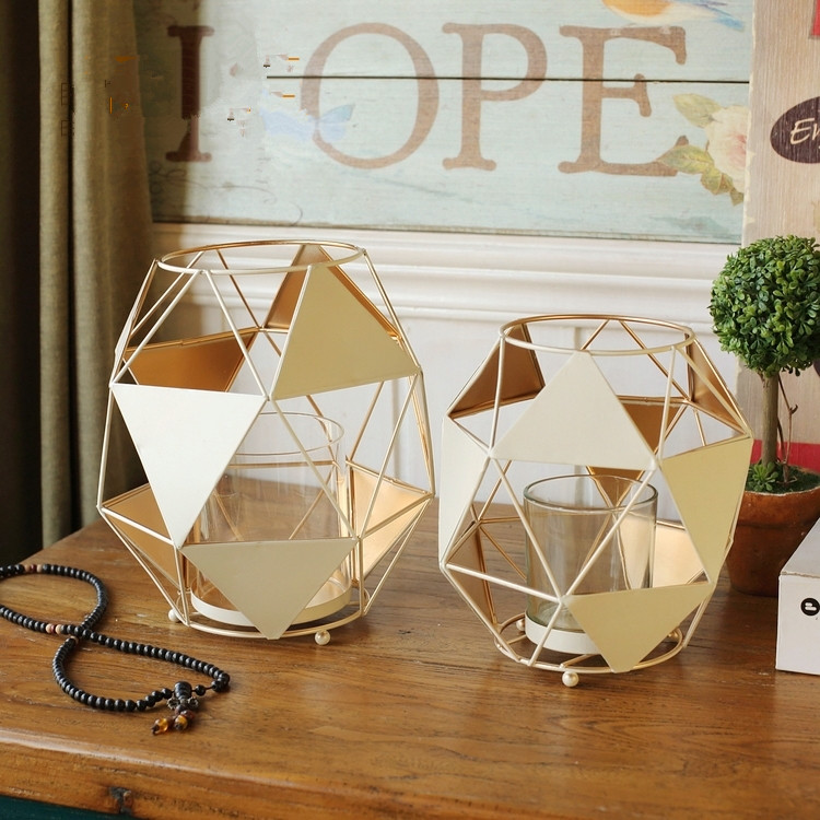 European Geometric Decorative Lantern Candelabra White Diamond Shape  Candlestick Ornaments Home Decor Wedding Iron Candle Stand In Candle  Holders From Home ...