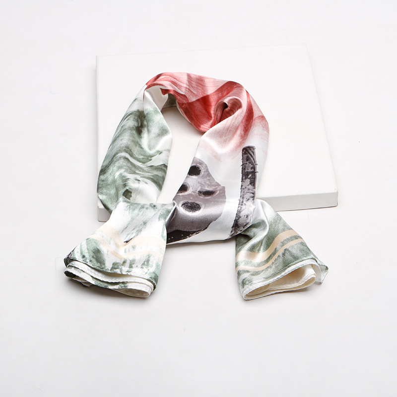 2019 New Fashion Lotus Square Silk Scarf Head Neck Feel Satin Scarf Skinny Retro Chinese Painting Big Square Scarf in Women 39 s Scarves from Apparel Accessories