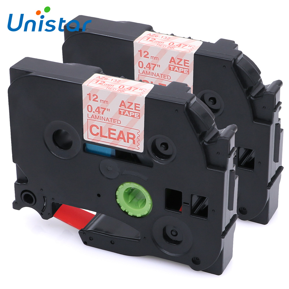 Unistar 2pcs TZe-132 Compatible for Brother P-touch Tape 12mm Red on Clear Laminated Label Ribbons for Brother P touch TZ Tape