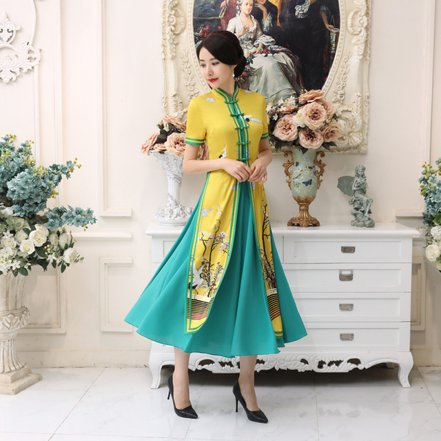 Summer New Hot Sale Yellow Satin Vietnam Ao Dai Dress Chinese National Cheongsam Short Sleeve Sexy Print Long Dress S-3XL AD5