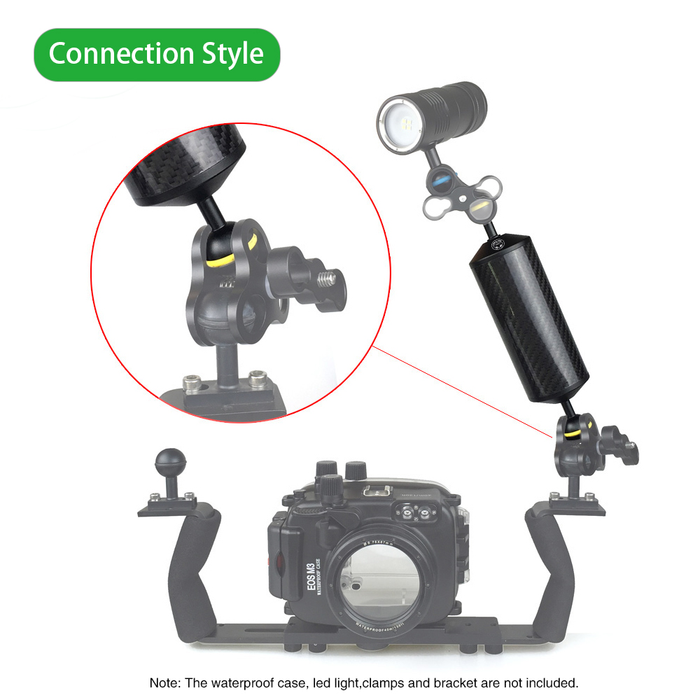 Tegongse Diving Photography Fill Light Arm Dual Ball Head Float Arm Camera Underwater Kit Lightweight