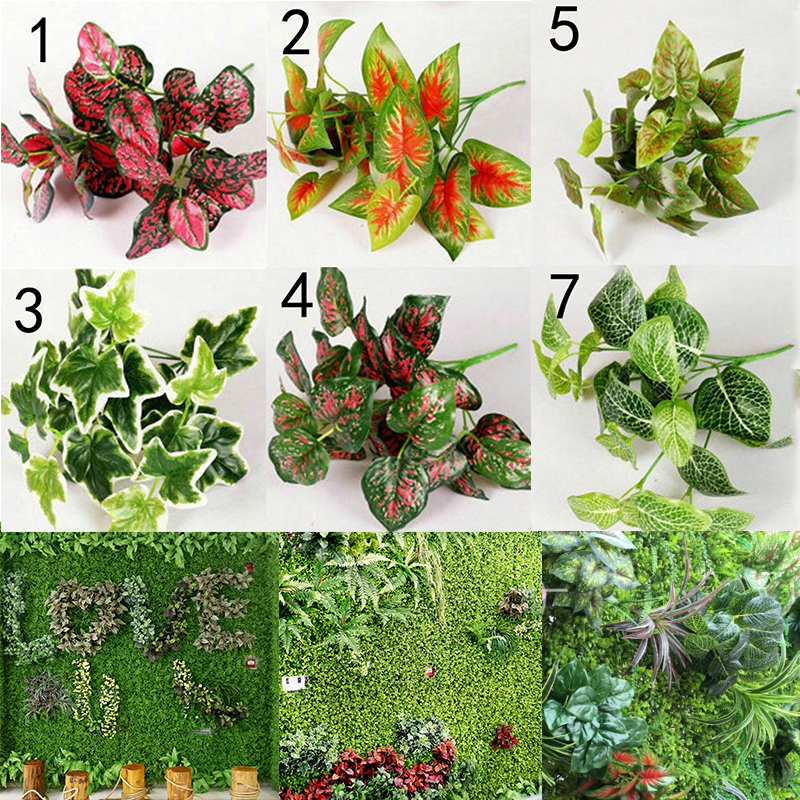 Sale 1pc New Diverse High Quality Artificial Plants Indoor Outdoor Fake Leaf Foliage Bush Office Garden Decor Interior Design
