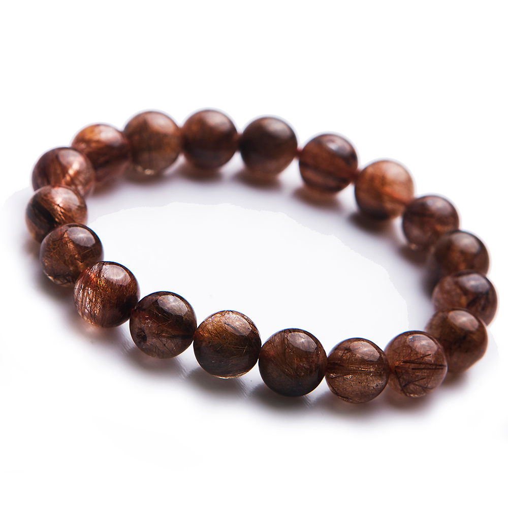 Genuine Natural Copper Hair Rutilated Quartz Crystal Fashion Lady Round Bead Bracelets 10.5mmGenuine Natural Copper Hair Rutilated Quartz Crystal Fashion Lady Round Bead Bracelets 10.5mm