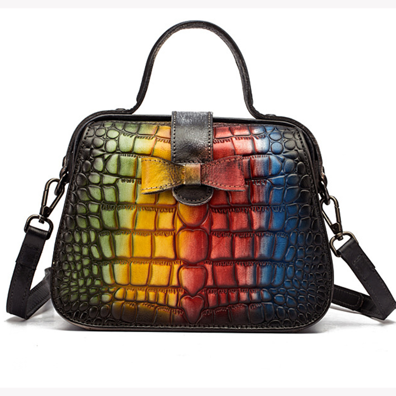 Nouveau femmes Messenger sacs à bandoulière bandoulière motif Crocodile sac à main en cuir véritable petit fourre-tout sac à main Vintage Top poignée sac - 4