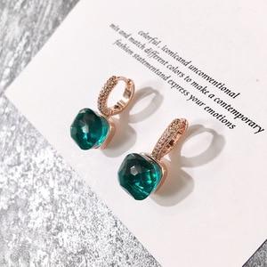 Image 3 - Moda damska Multicolor Faceted Crystal Candy kwadratowe kolczyki srebrny kolor różany złota cyrkonia kamienie kropla wody kolczyki
