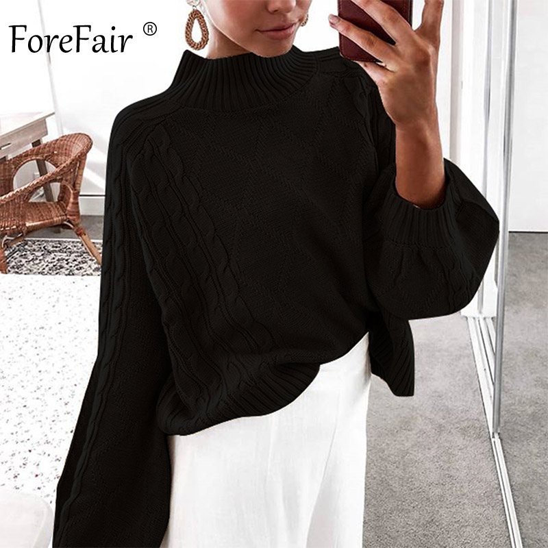 Forefair Winter Turtleneck Knitted Sweater Women Autumn 2019 Lantern Sleeve Plus Size Jumper Solid Casual Oversize Pullovers