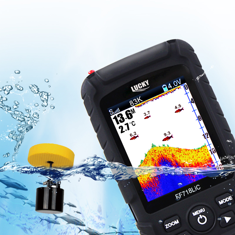 "Image 2 - LUCKY Portable Fish Finder 2.8"" Color LCD 100M Depth Detection Dual Sonar Frequency Fishfinder Wired FF718LiCD T-in Fish Finders from Sports & Entertainment"