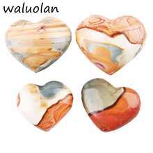 2018 Trendy Heart Shape Natural Crystal Marine Gemstone Madagascar Jasper Pendant Jewelry Gift DIY Handmade Tumbled Stone Craft
