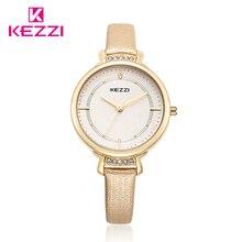 Kezzi Femmes Quartz-montre Cristal Fin Fine Bracelet En Cuir Dames Montre Or Plaqué Grand Mince Cadran Robe Montre-Bracelet reloj mujer