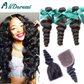 Brazilian Virgin Hair Loose Wave With Closure Wet and Wavy Virgin Brazilian Hair 3Bundles With Closure Loose Wave Weave Bundles