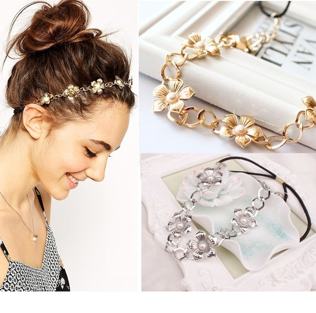 2017 Hot Sale FashionWomen Metal Head Chain  Flower Elastic Hair Band Trendy Headband Hair Accessories