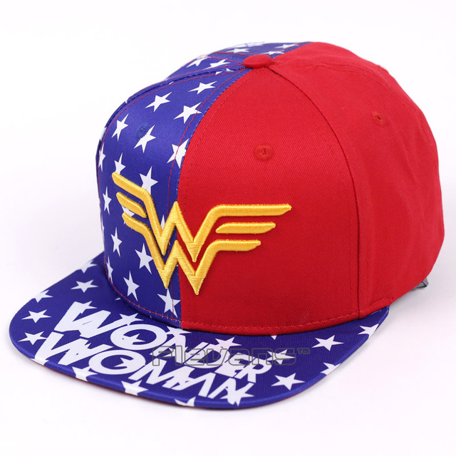 4fcefd792b5 DC Heroine Wonder Woman Flat Snapback Hip-Hop Caps Hat Adult Women Men  Cosplay Hat Adjustable Baseball Cap