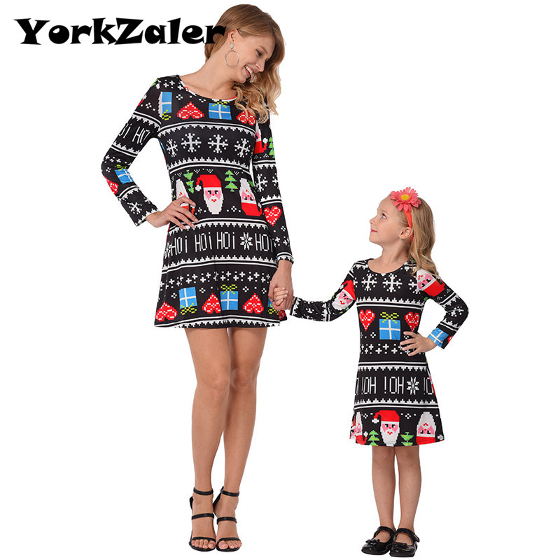 YorkZaler Matching Mother Daughter Dresses Print Santa Claus Christmas Dress Gift Mom And Me Outfits Family Look christmas santa claus gift print plus size skirt page 3
