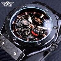 Vencedor Esporte Fashion Design Caixa Em Aço Inoxidável Mens Relógios Top Marca de Luxo Relógio Automático Masculino Relógio De Pulso de Borracha de Silicone