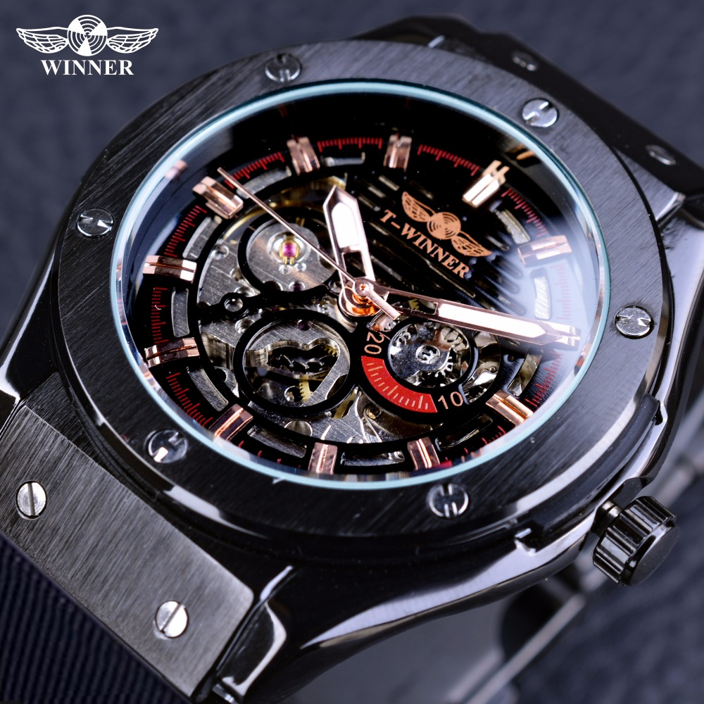 Winner Fashion Sport Design Stainless Steel Case Mens Watches Top Brand Luxury Silicone Watch Rubber Automatic Male Wrist Watch liaopijiang bao gangshi used ar5890 ar5905 ar5906 stainless steel strip rubber fashion 20 23mm