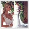 2017 o Laço Branco Da Sereia Vestidos de Noiva V Neck Backless Tanque Mangas Trem Da Varredura de Cristal Sheer Vestido de Noiva Anna Campbell Harper