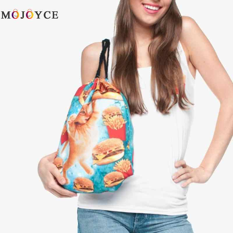 الموضة الطباعة الرقمية النساء/الرجال الرباط على ظهره السفر حقيبة تسوق صغيرة للجنسين في سن المراهقة حقيبة ظهر تحمل على الكتف Mochila