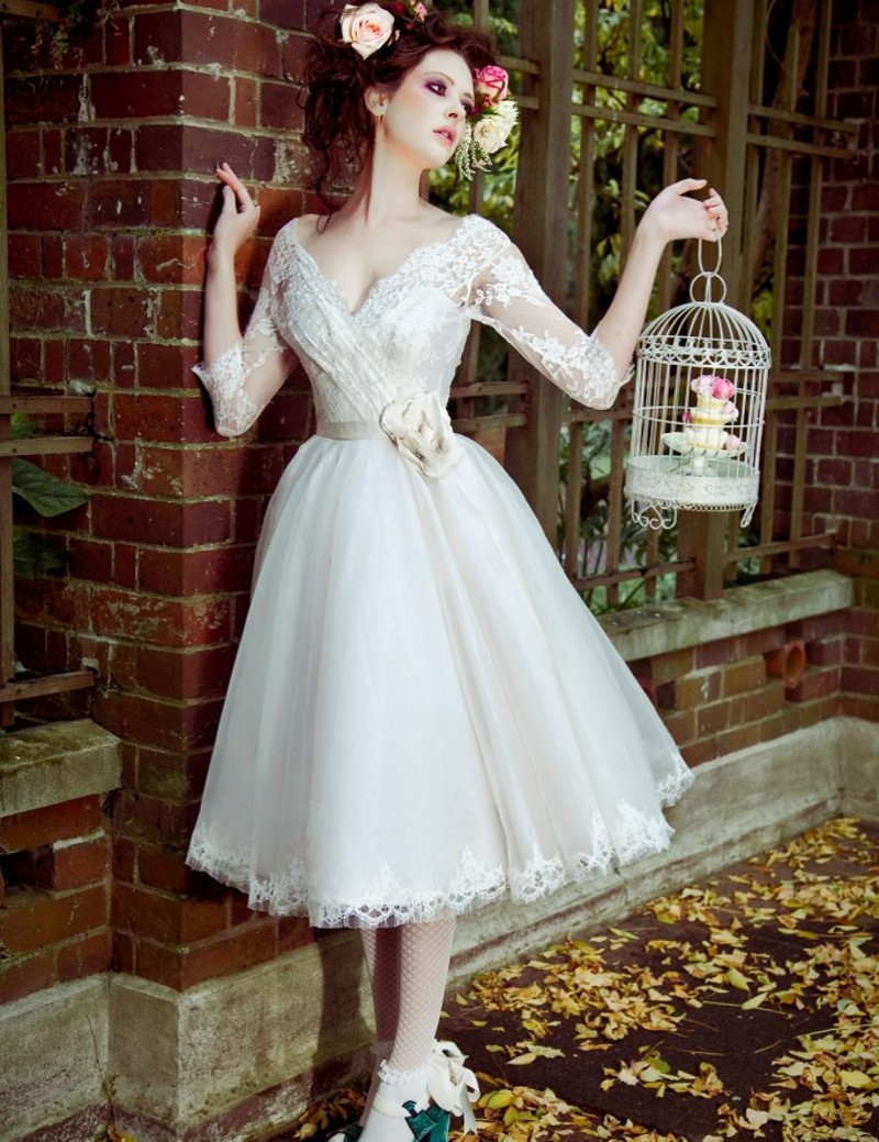 Online get cheap vintage tea length wedding dresses for Cheap wedding dresses tea length
