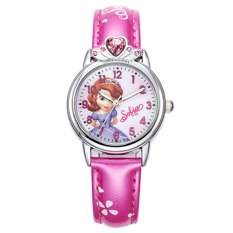 Watches Disney Brand Wristwatches Frozen Sofia Fashion Children Girls Watches Leather Quartz Child Girl Students Cotton Waterproof