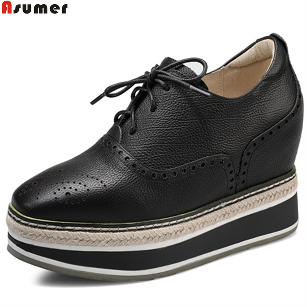 Asumer black beige army green fashion spring autumn ladies shoes square toe women genuine leather increased internal shoes