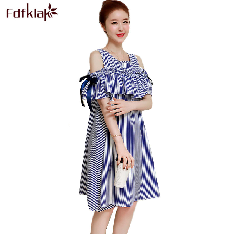 Fdfklak Fashion Summer Pregnant Dress Women Vestido Short Sleeve Loose Pregnancy Dresses Sweet Strapless Maternity Clothes
