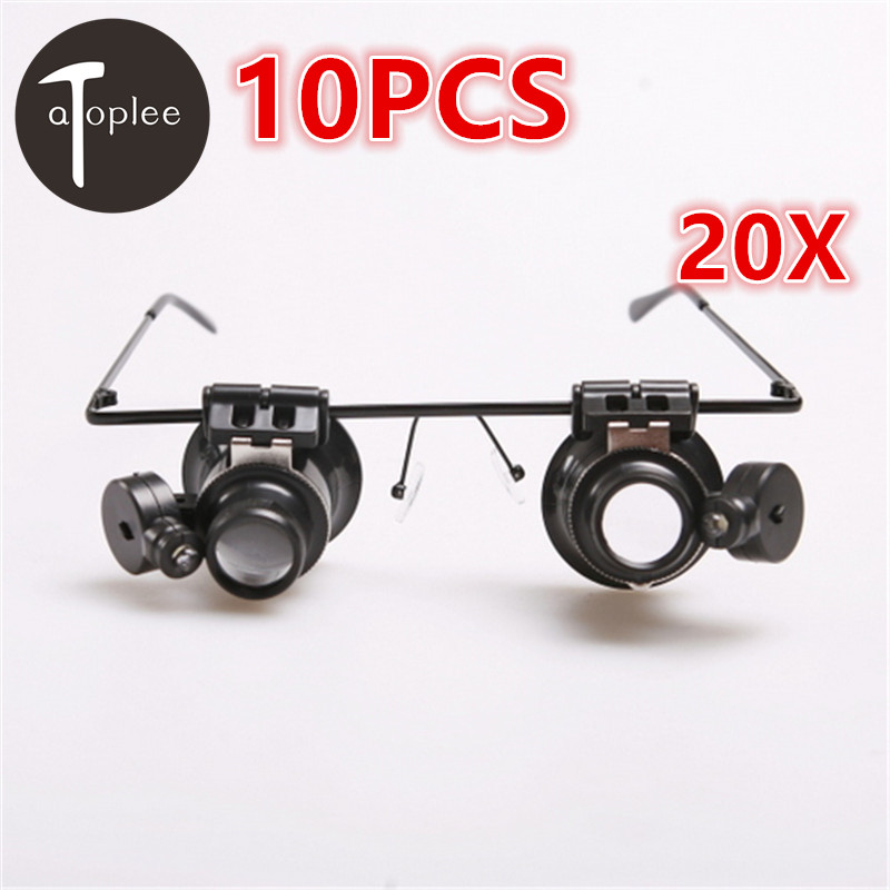 Atoplee 10PCS 20X LED Light Magnifier spectacles eye glasses Loupe Jeweler Magnifying glass Watch Repair Tools набор для создания фрески фантазер superфреска джунгли
