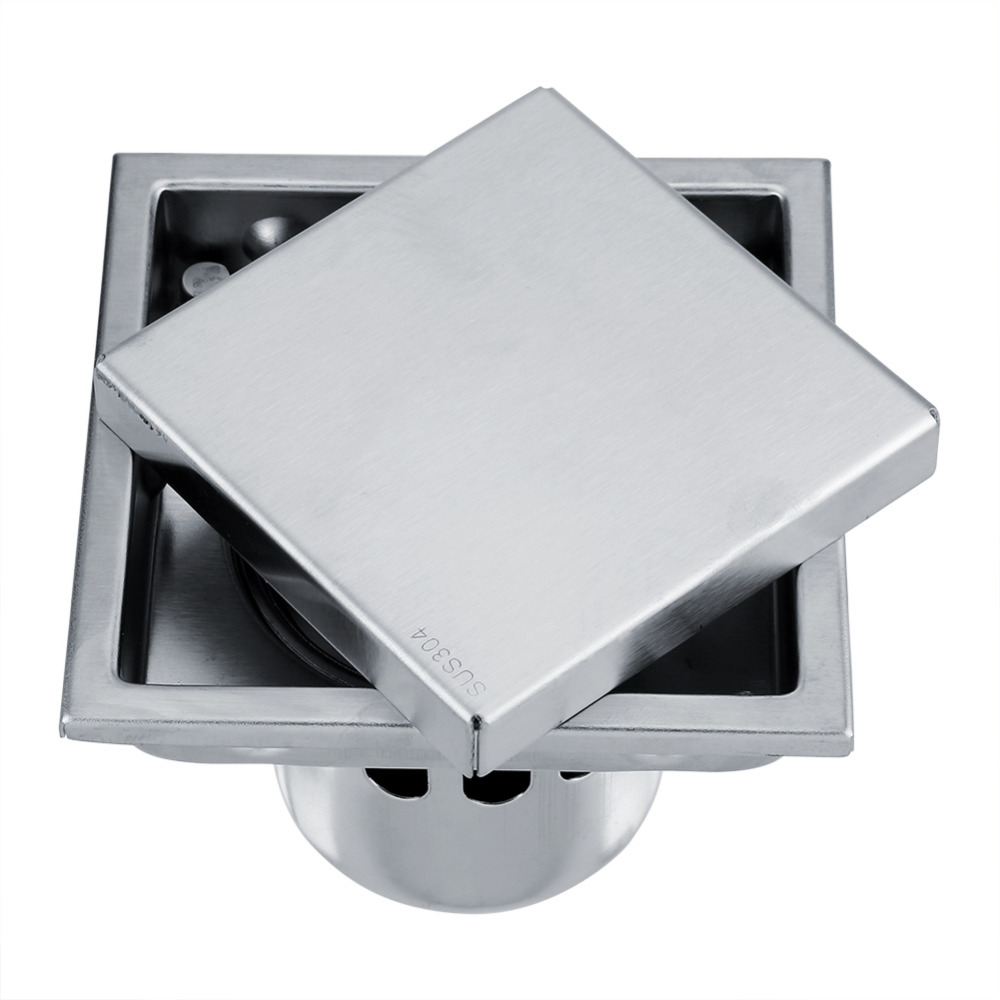 Stainless Steel Bathroom Floor Drain Anti-odor Square Shape Waste Gate Shower Drainer Durable