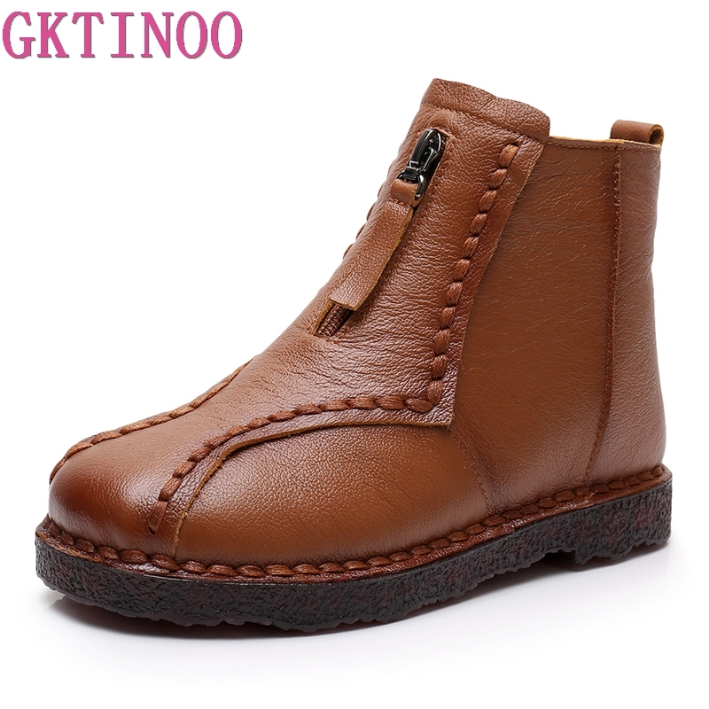 GKTINOO Genuine Leather Ankle Boots Winter Warm Handmade Soft Flat Shoes Comfortable Casual Moccasins Women's Shoes Snow Boots gktinoo genuine leather shoes women flats 2018 hollow casual shoes handmade comfortable soft bottom flat shoes moccasins