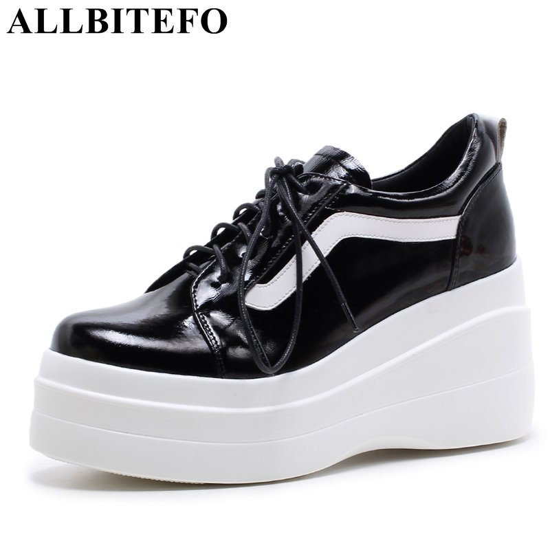 ALLBITEFO new spring Patent leather high heel shoes wedges high heels platform spring shoes women pumps party shoes woman bling patent leather oxfords 2017 wedges gold silver platform shoes woman casual creepers pink high heels high quality hds59