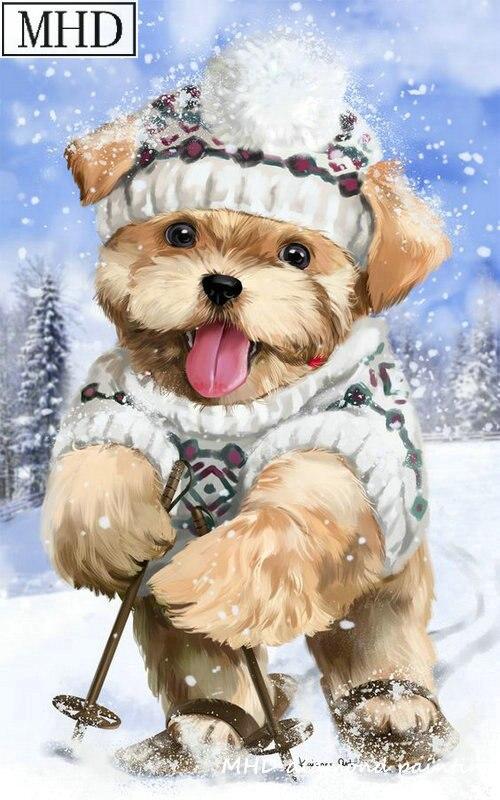 Dog In Snow 5D DIY Diamond Painting Full Square Drills Cross Stitch Decor Kits