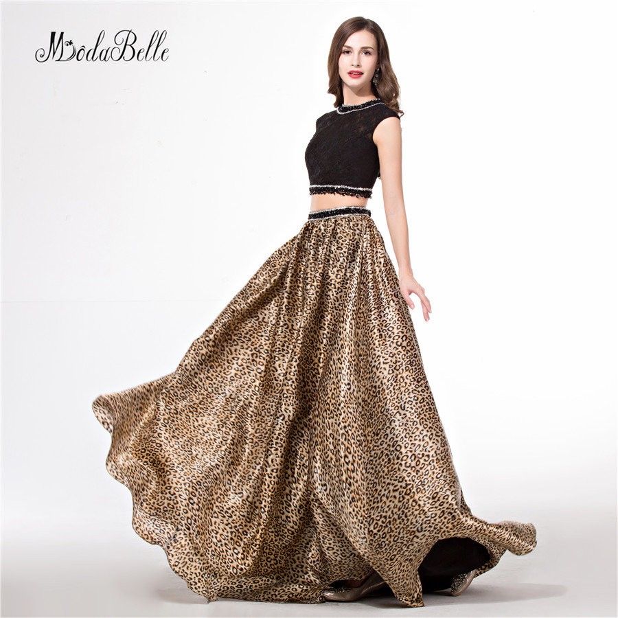 modabelle Two Piece Vestido Floral Leopard Prom Dresses Beaded Lace Crop Top Pattern Print Vestidos Gala Colorful Evening Gowns