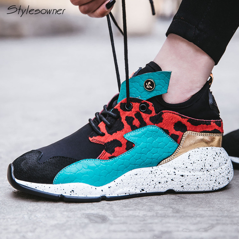 Stylesowner 2018 New Fashion Women Lace Up Shoes Horse Hair Real Leather Casual Sneakers Leopard Mixed Color Lady Casual Shoes fashion horse hair tassels leather leopard pattern flat shoes black brown pair 37