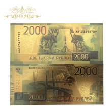 Russia Paper-Money Banknote Rubles Collection Gifts Gold-Plated 24k in for And 10pcs/Lot