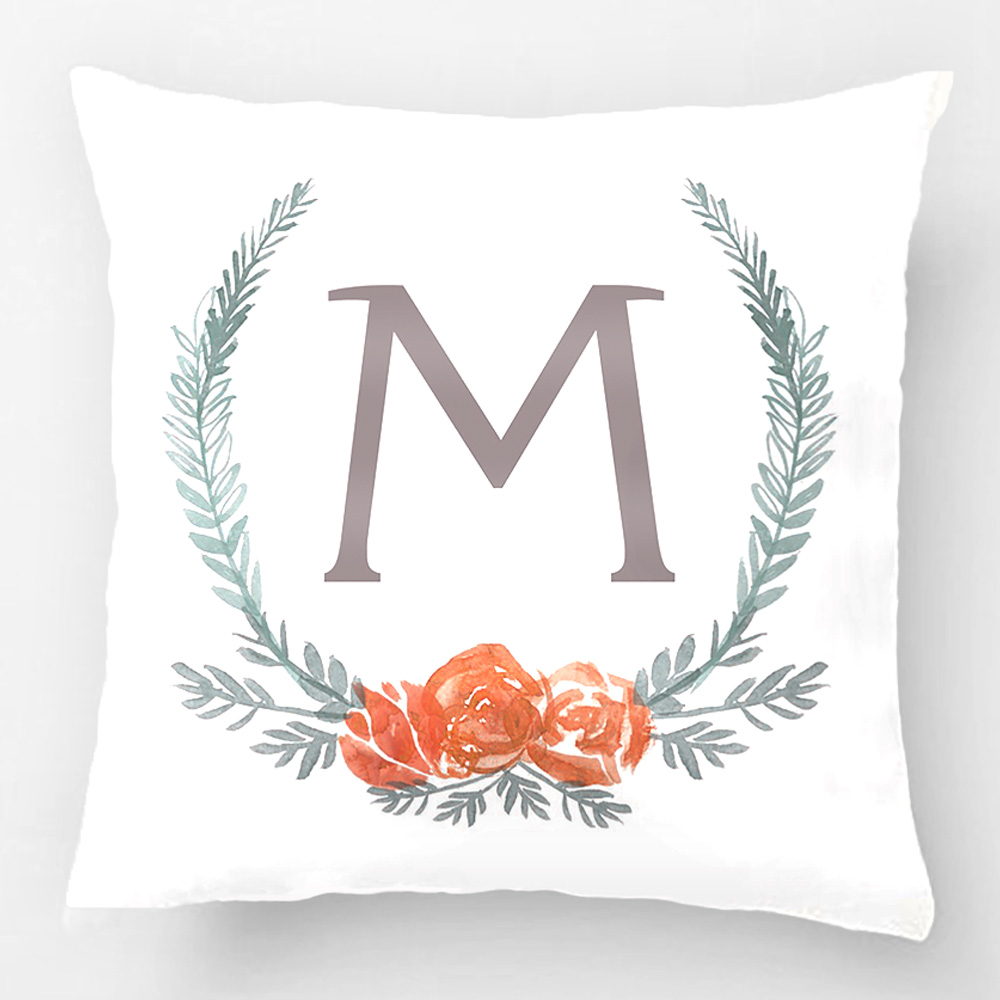 How To Make A Monogram Throw Pillow : Botanical Laurel Wreath Monogram Throw Pillow Case Decorative Cushion Cover Pillowcase Customize ...