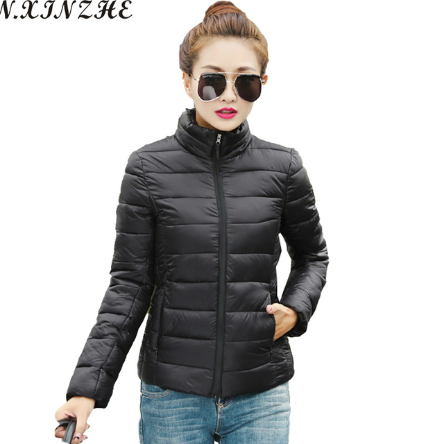 N.XINZHE 2017 Autumn Winter jacket women stand collar long-sleeve short paragraph cotton padded jacket Parkas female coat women